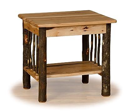 Amazon Com Furniture Barn Usa Rustic Hickory Log End Table With
