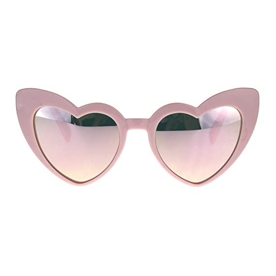 169d0d33a84a Womens Heart Shape Color Mirror Cat Eye Plastic Groovy Sunglasses Pink   Amazon.in  Clothing   Accessories