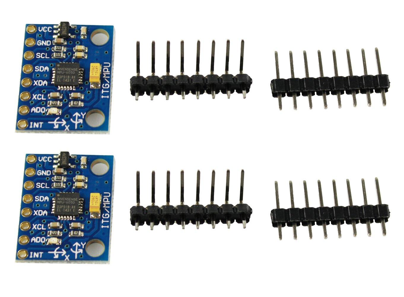 COM-FOUR/® 2X GY-521 MPU-6050 Giroscopio a 3 Assi e modulo accelerometro a 3 Assi per Arduino 02 Pezzi