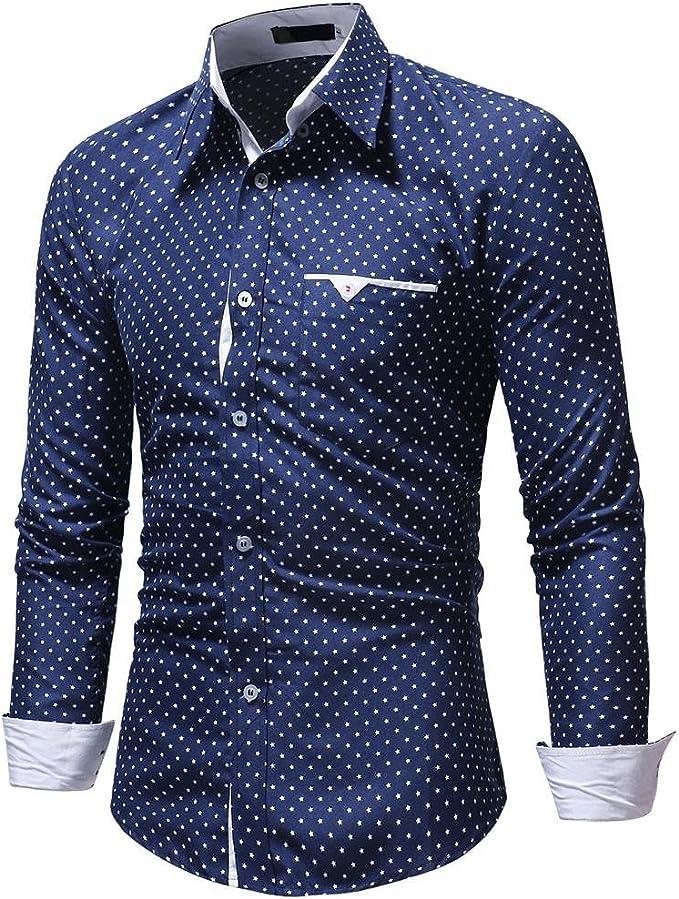OKJI - Camisa de Manga Larga para Hombre, diseño de Lunares, para Hombre: Amazon.es: Ropa y accesorios