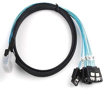 Mini SAS SFF-8087 to 4-SATA Multi-Lane Forward Breakout Internal Cable 3.28 Feet