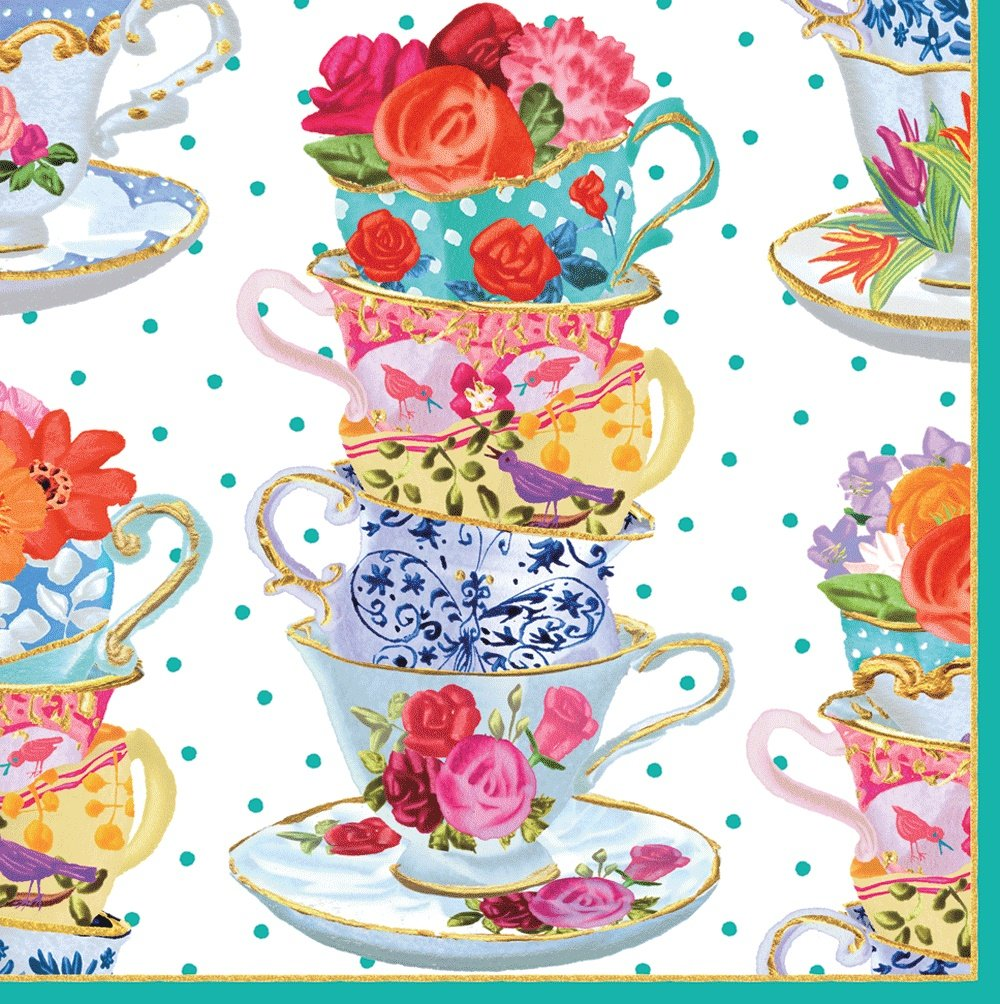 Entertaining with Caspari Cocktail Napkin, Pink Tea Cups, Box of 40
