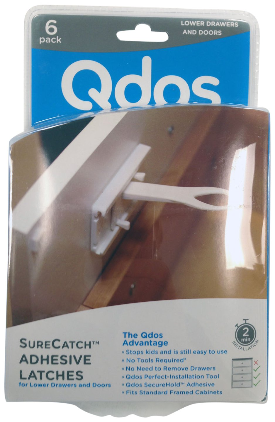 QDOS SURECATCH Adhesive Lower Drawer Latches - No Removing Drawers! No Drilling! No Tools Required! Fits Right The First Time! | Only for Framed Cabinet Lower Drawers and Doors | 6 Pack | White