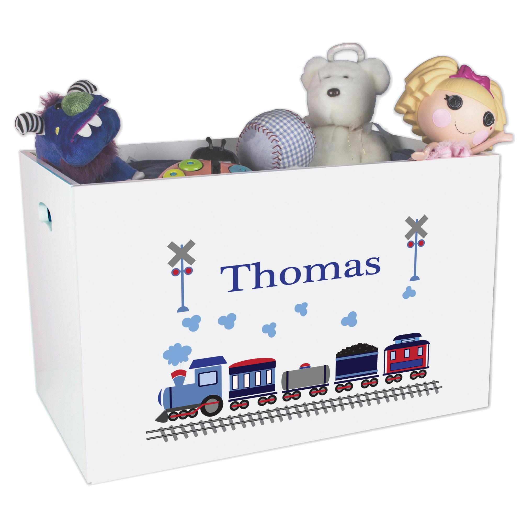 Personalized Train Childrens Nursery White Open Toy Box