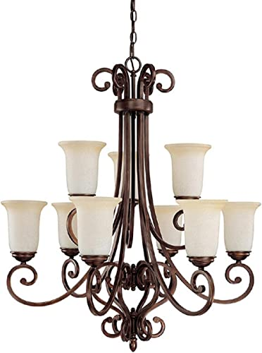 Capital Lighting 3029BB-251 Chandelier with Mist Scavo Glass Shades, Burnished Bronze Finish