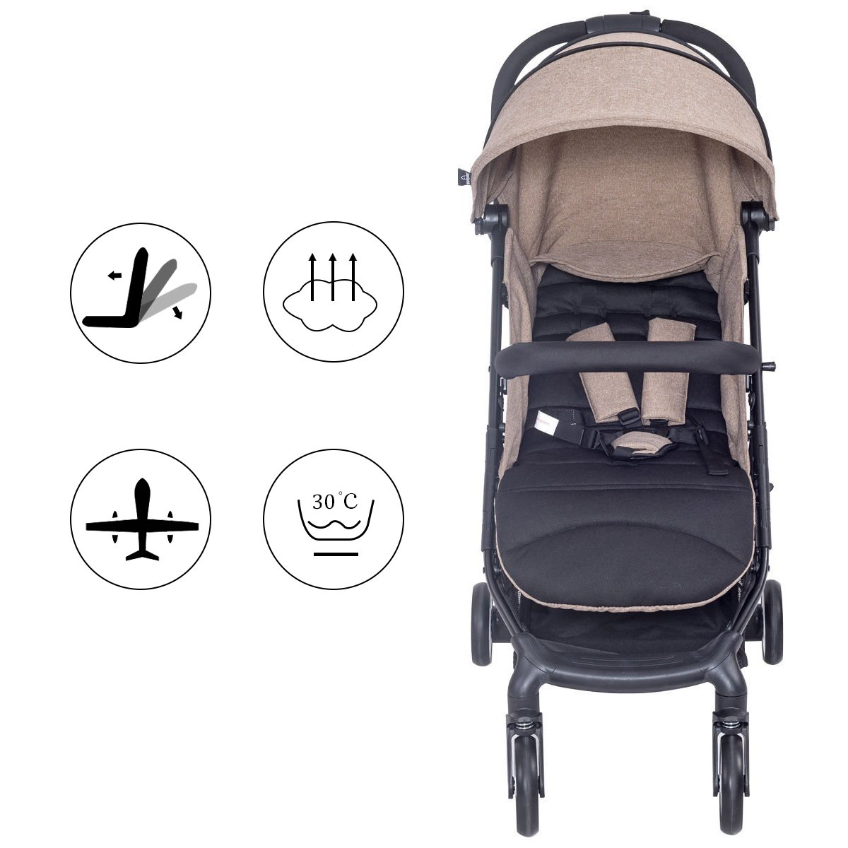 Costzon Lightweight Stroller with 5-Point Safety System and Multi-Positon Reclining Seat Coffee