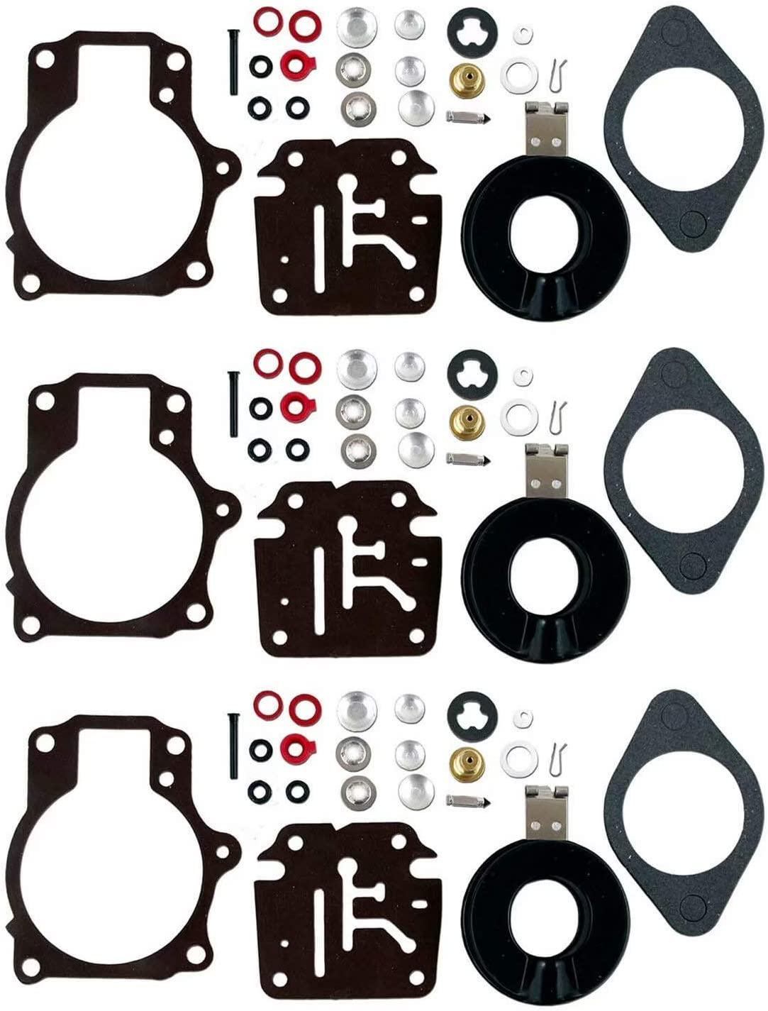 Carb Repair Kit Fits Johnson Evinrude Carburetor 18 20 25 28 30 40 45 48 50 60 70 75 hp Replaces 18-7222 392061, 396701, 398729