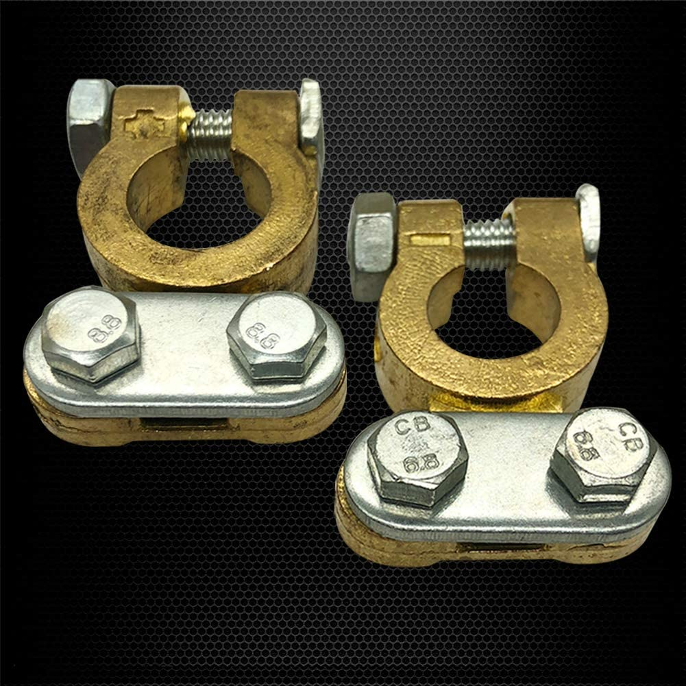 1 Pair Top Post Battery Terminals Set for Marine Car Boat RV Vehicles Ampper Brass Battery Terminal Connector Clamps