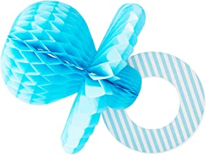 Blue Pacifier Baby Shower Centerpiece, Baby Boy Party Decor (7.9 x 11.2 In, 6Pk)