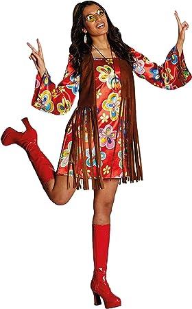 Nancy vestido colourido disfraz de hippie con chaleco marrón de ...