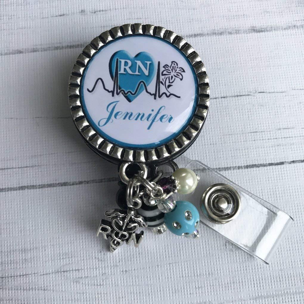 Personalized RN Nurse ID Badge Reel Nurse Graduation LPN BSN Custom name RN Retractable ID holder Blue Nurse Gift Same Day SHIPPING