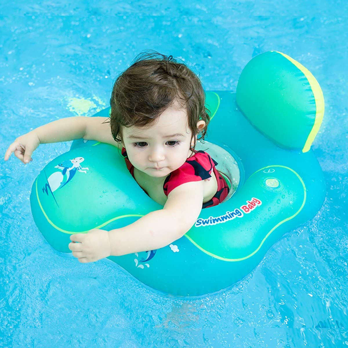 BLUE Baby Swimming Ring Floats with Safety Seat Double Airbag Swim Rings for Babies Kids Swimming Float Baby Floats for Pool Swim Training Aid Kids PVC Pool Floats for Toddlers of 6-36 Months