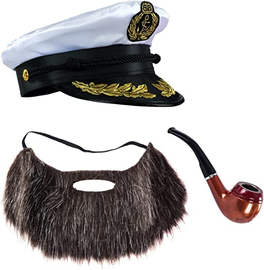 Sailor Ship Yacht Boat Captain Hat Costume Accessories Sailor Cap,Wooden Pipe,Aviator Sunglasses