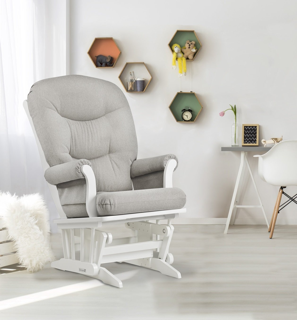 Dutailier Sleigh Glider, Coffee/Pebble Grey D00-61B-62-5288