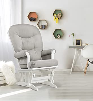 Dutailier Sleigh Glider, White/Light Grey