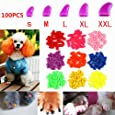 100Pcs Soft Pet Dog Nail Caps Claws Control Paws Of 5 Kinds Different Colors + 5Pcs Adhesive Glue + 5pcs Applicator with Instructions