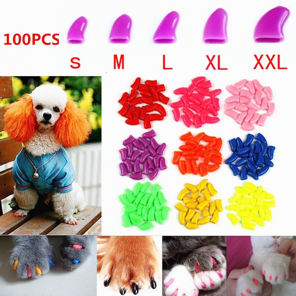 Brostown 100Pcs Soft Pet Dog Nail Caps Claws Control Paws Of 5 Kinds Different Colors + 5Pcs Adhesive Glue + 5pcs Applicator with Instructions (XL)