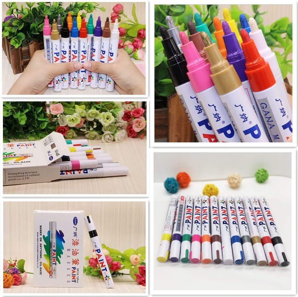 Ceramic Wood Acrylic Paint Markers Extra-Fine Tip for Beginners Students Or Professionals Adults Glumes 12 Colors Paint pens for Rock Painting Glass Stone