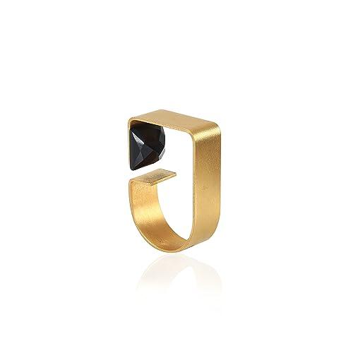 Amazon Women s Geometric Gold Ring with Black yx Stone
