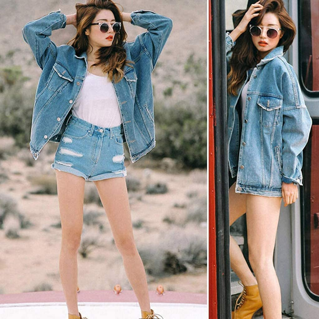CHAELAKES Womens Jacket Ladies Retro Oversize Loose Button Jacket Casual Denim Coat Jeans Outwear with Pockets