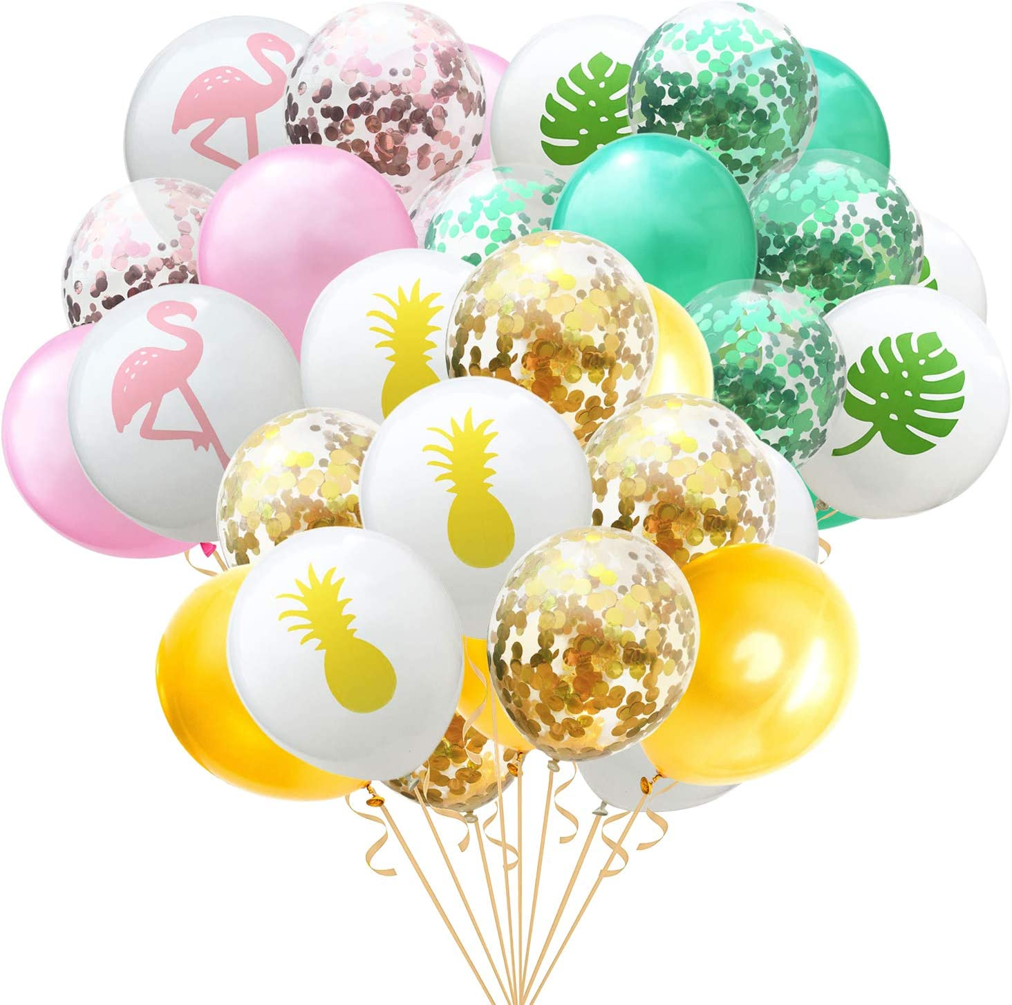 Faylapa 45 Pcs Hawaii Tropical Balloon,Colorful Party Balloons - Flamingo Tropical Leaf Pineapple for Hawaiian Luau Tropical Party Baby Shower Wedding Decoration