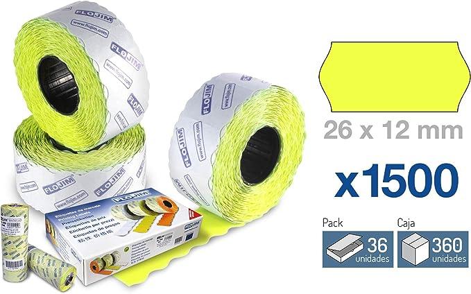 36 Rollos de 1500 Etiquetas Marcaje - Amarillo fluor 26 x 12 mm.: Amazon.es: Oficina y papelería
