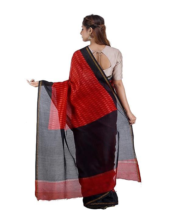072654de102f96 Unnati Silks Women Red-Black Pochampally Ikat Printed Cotton Silk Saree:  Amazon.in: Clothing & Accessories