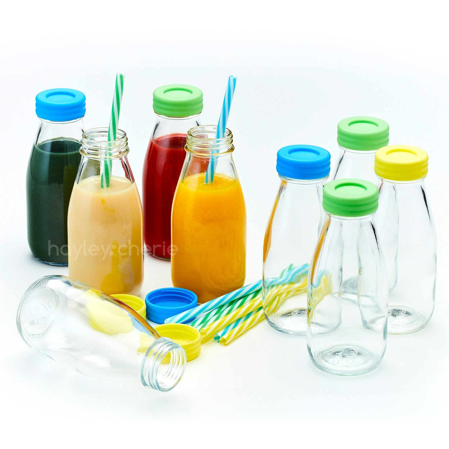 -LAUNCH SALE - Hayley Cherie - 10oz Glass Milk Bottles with Colorful Leak Proof Lids and Reusable Straws - Set of 9