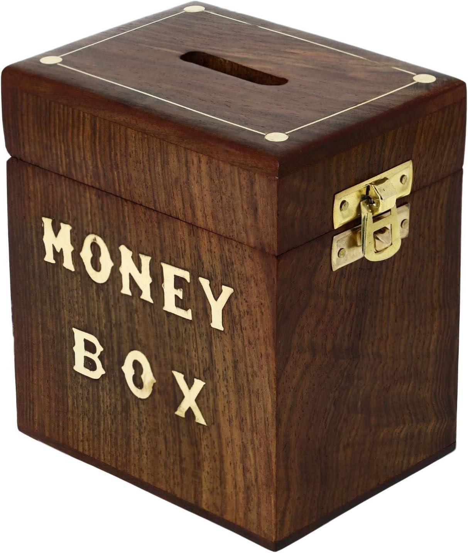 SKAVIJ Handmade Wooden Money Bank Brass Inlay Coin Saving Box Brown