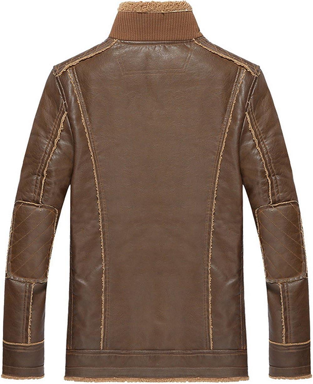 Jinmen Mens Aviator Retro Faux Leather Bomber Flying Jacket Lamb Wool Lining