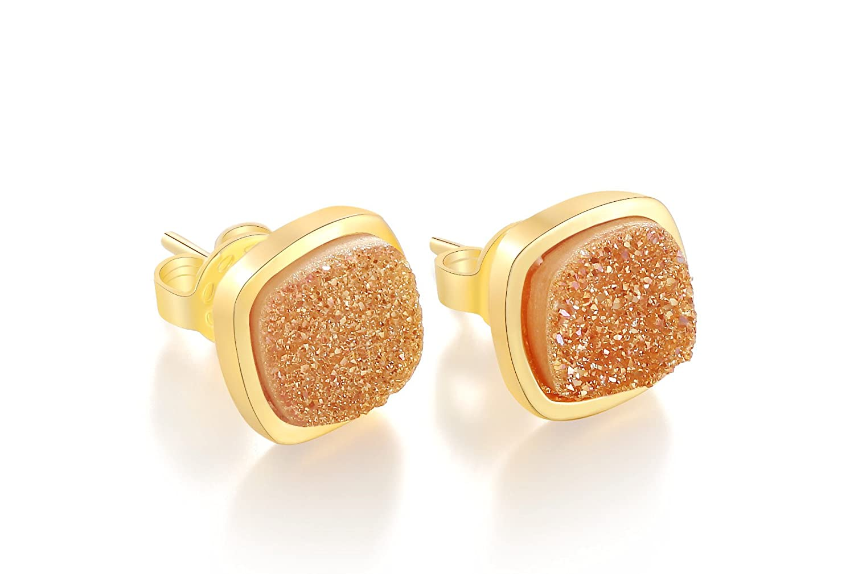 Ellena Rose Dainty Druzy Stud Earrings - 14K Gold Plated Square Druzy Stud Earrings