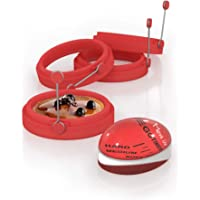 Juego de 4 anillos de huevo y temporizador de huevos, moldes de panqueques rojos hechos de silicona de grado alimenticio…