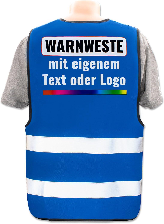 Front//Premium-Druck Warnweste mit eigenem Aufdruck selbst gestalten * Bedruckt mit Name Text Bild Logo Firma Farbe /& Gr/ö/ße:Rot//Gr/ö/ße M//L Position /& Druckart:R/ücken