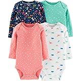 Carter's Baby Girls 4-Pack Original Long Sleeve Bodysuits (Dino)