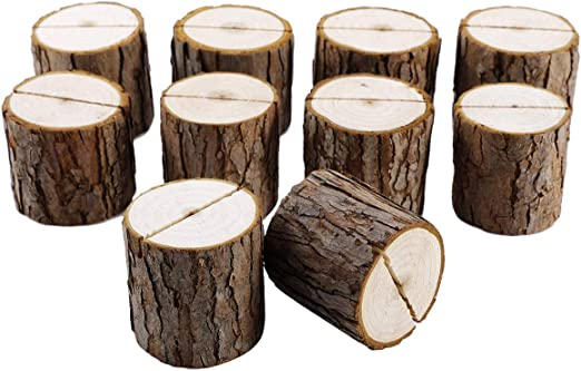 Anladia 10pcs Rustic Wooden Wedding Decor Venue Name Place Card Holders Log Name Card Holders 5CM