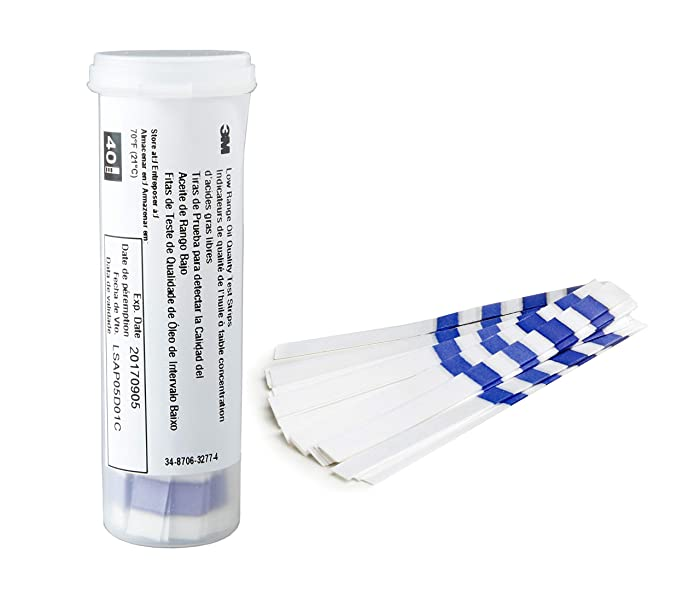 3M Low Range Frying Oil Quality Test Strips Kit, 1005, Monitor Shortening Quality with Oil Test Paper, Accurately Measures FFA Concentration up to 2.5 Percent, 1 Bottle of 40 Oil Test Strips