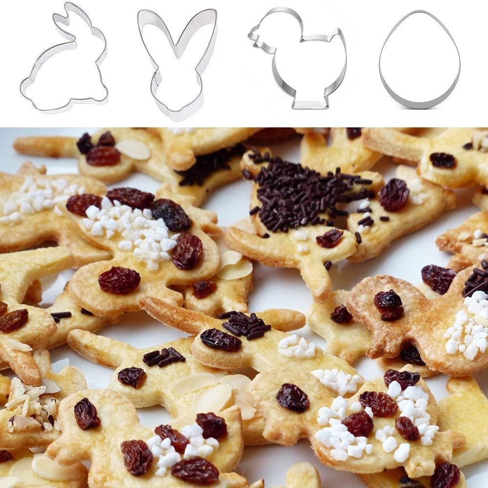 Kekse an Ostern Cookies Aiskki Ausstechform 4 Teilig Backform Ausstecher Form Osterhase F/örmchen Pl/ätzchenausstecher Osterhase Stempel Hase zum Backen Ostern aus Edelstahl f/ür Pl/ätzchen Kuchen