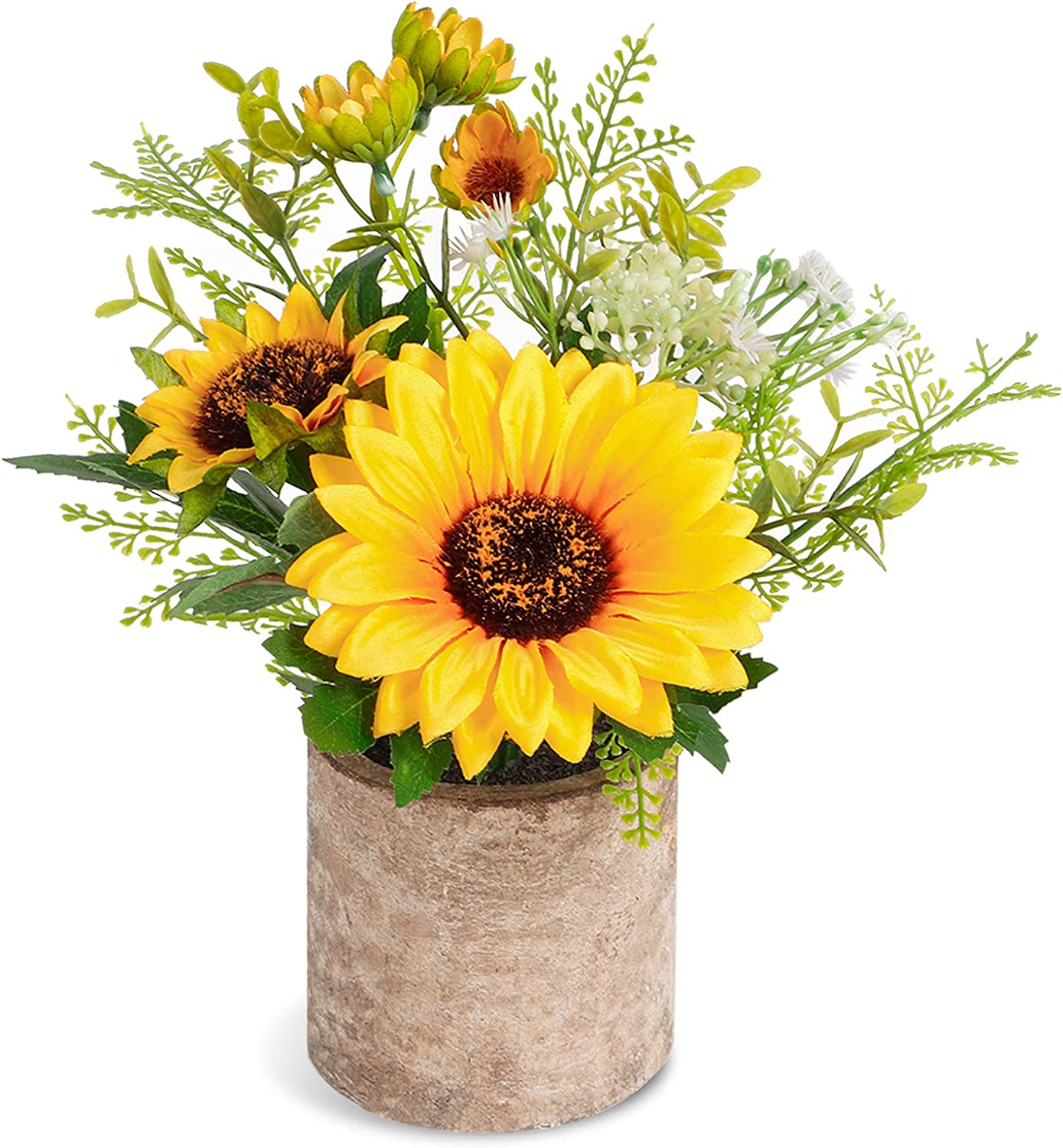 COCOBOO Artificial Sunflower Potted Plants Yellow Fake Flower in Pots, Summer Decorations for Home Bathroom Kitchen Rustic Table Centerpiece Decor