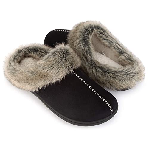 aab7c91f3f63 ULTRAIDEAS Men s Cozy Memory Foam Slippers with Warm Fleece Lining and  Fuzzy Faux Fur Collar