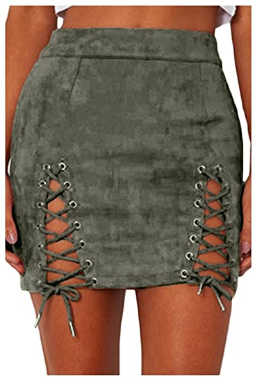 e09bc0029 Jessicalove Womens Sexy High Waist Lace Up Bodycon Faux Suede Split Tight  Mini Skirt at Amazon Women's Clothing store:
