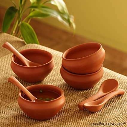 Buy Exclusivelane Handmade Clay Bowl With Spoon Set 280 Ml Set Of