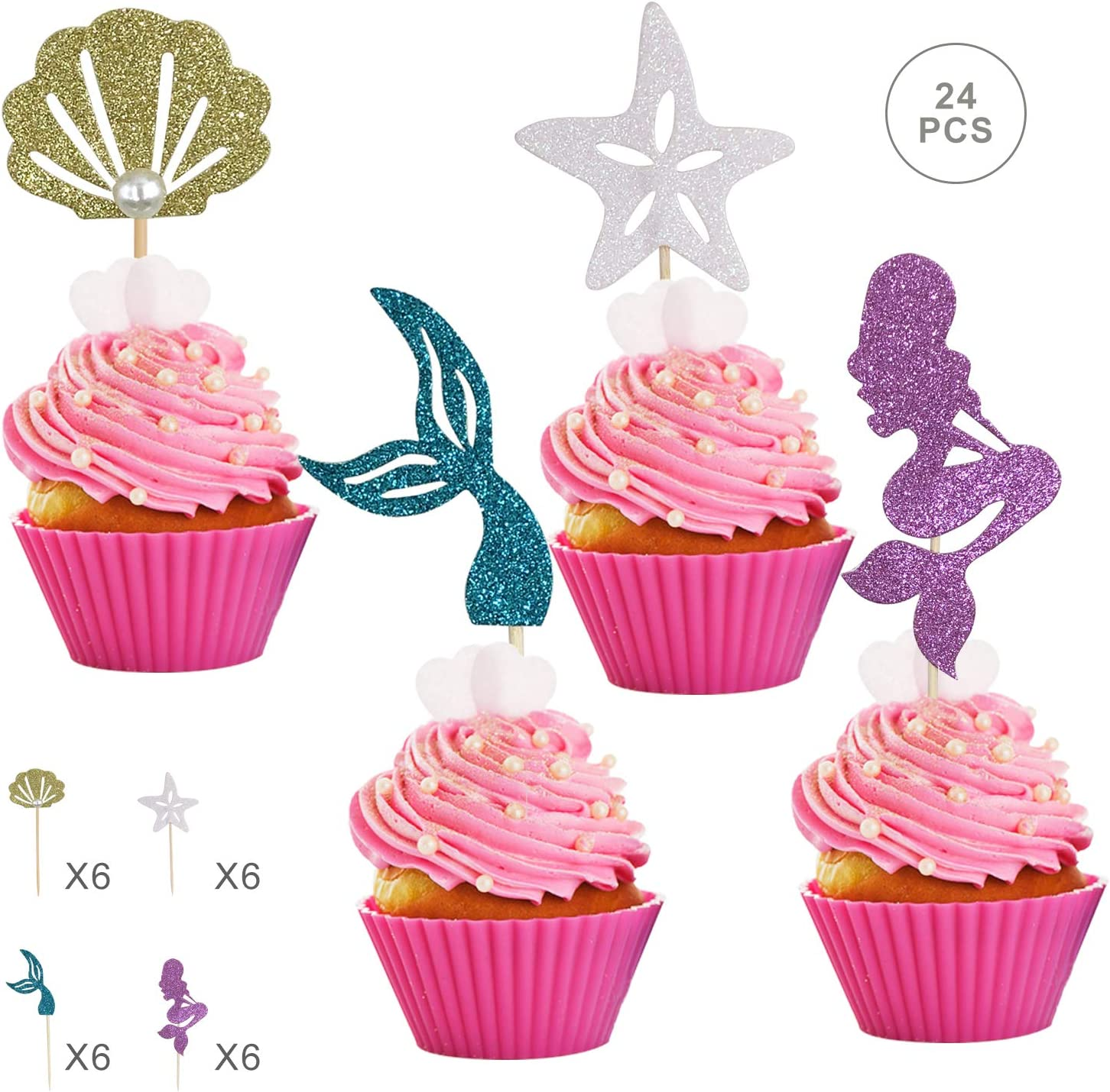 Glitter Cake Topper Kids Baby Shower Baby Birthday Party Cupcake Decoration 6pcs