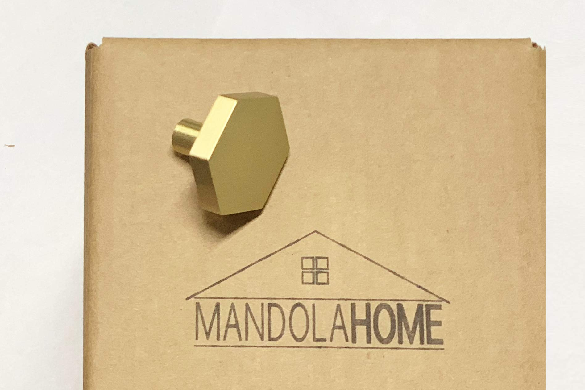 Hexagon Cabinet KNOB Hardware   Solid Stainless Steel   Pack of 10 (Satin Brass)