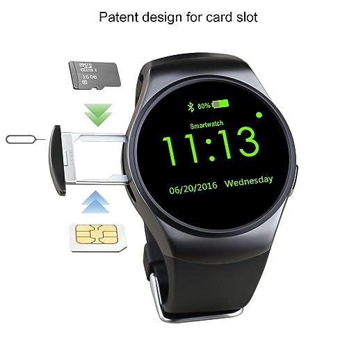 Amazon.com: KW18 Bluetooth Smart Watch MTK2502C with Round ...