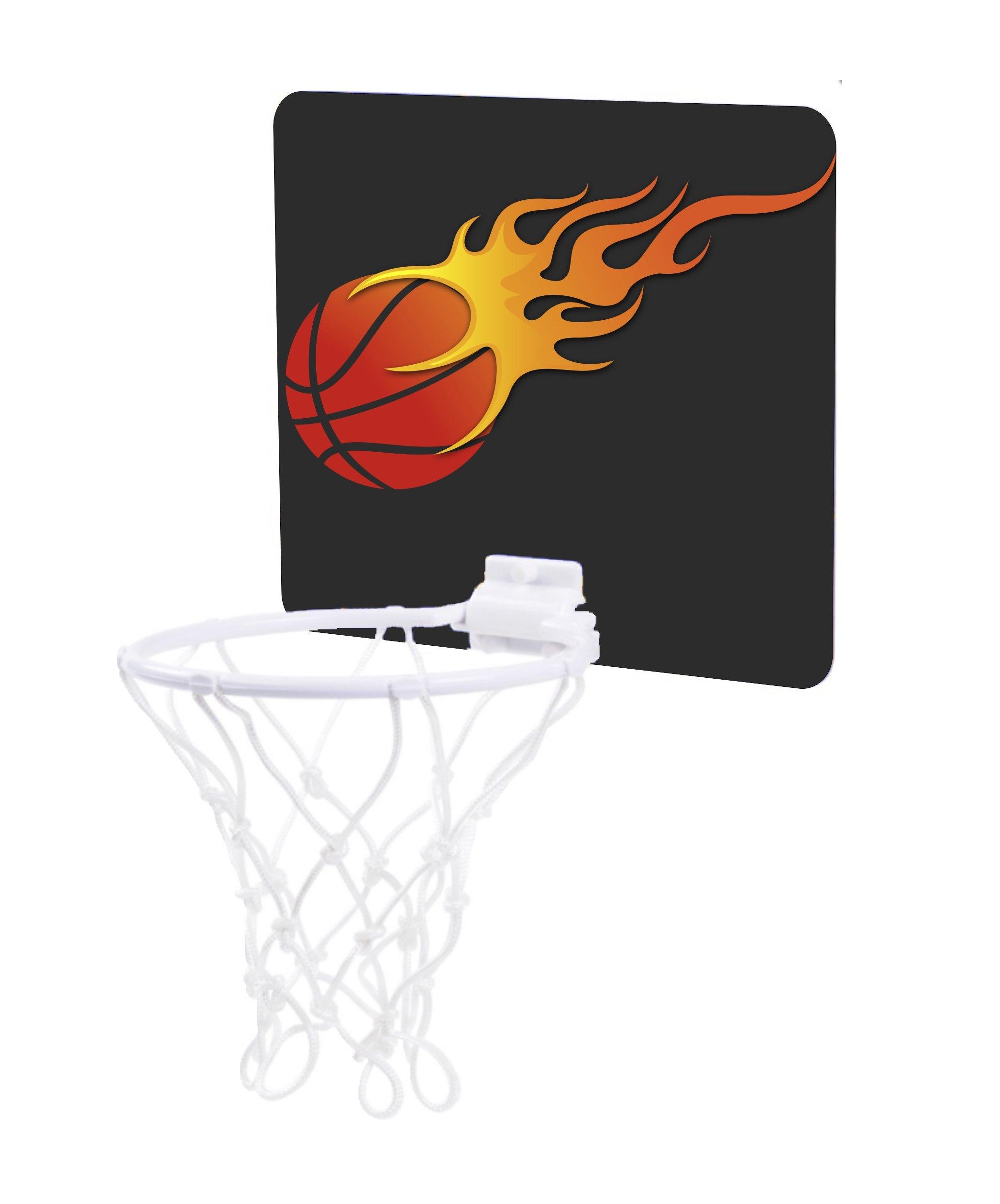 Jacks Outlet Flaming Basketball Design - Childrens 7.5'' x 9'' Mini Basketball Backboard - Goal with 6'' Hoop