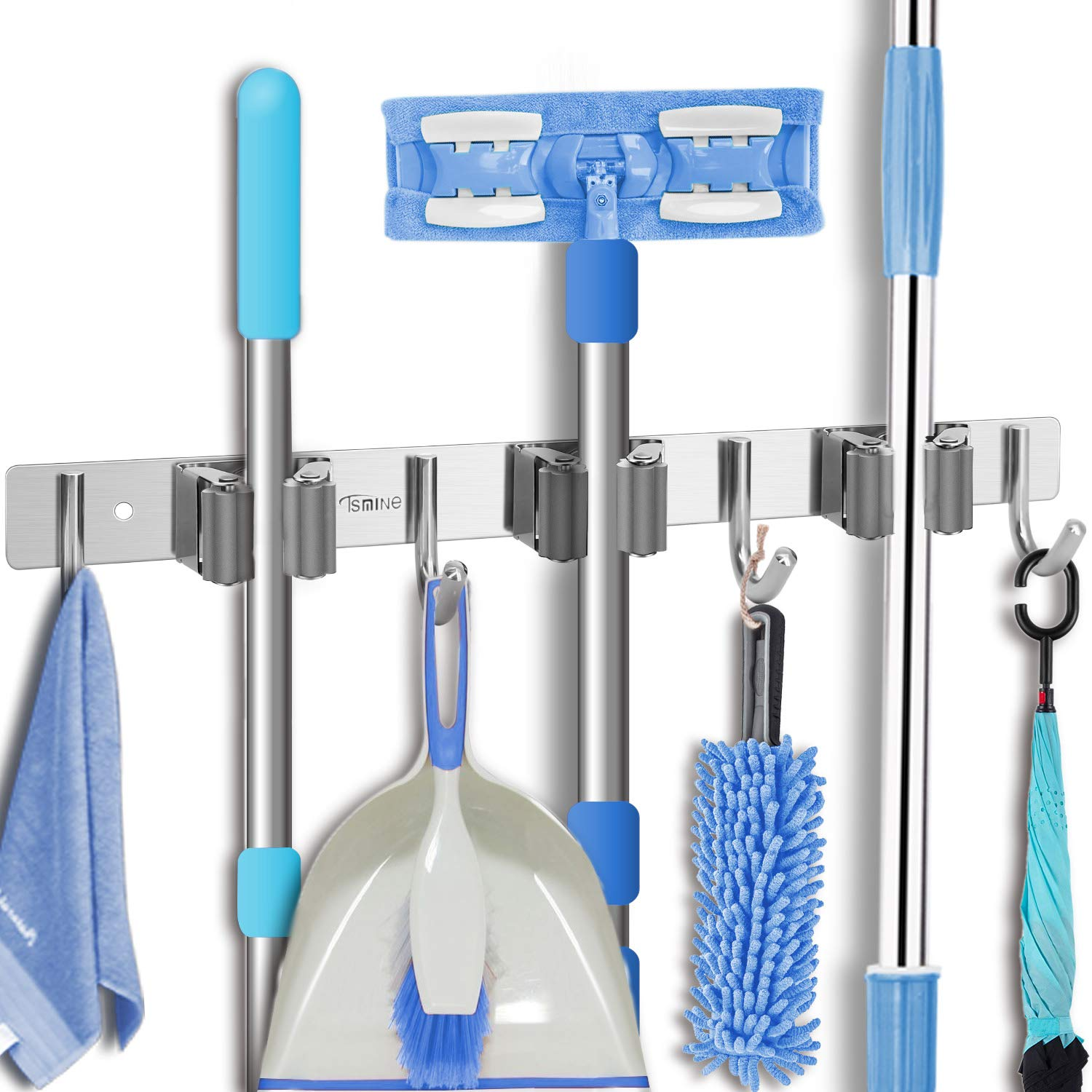Tsmine Broom Holder Organizers and Storage Stainless Steel Mop Holder Wall Mounted Garden Tool Heavy Duty Rack Hooks for Garage,Home,Kitchen,Bathroom,Closet and Shed (3 Racks 4 Hooks) by Tsmine