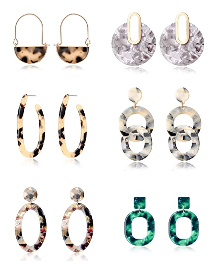02d3eaadf Tornito 6 Pairs Mottled Hoop Earrings Acrylic Resin Drop Dangle Earring  Bohemian Statement Stud Earrings for