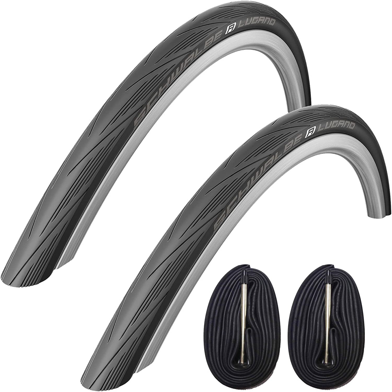 White Schwalbe Lugano 700 x 25c Road Bike Tyres with 80mm Presta Tubes Pair