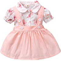 Baby Girl Short Sleeve Pink Suspender Skirt Set Shirt+Overall Skirt Outfit 3-24M