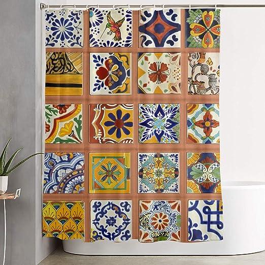 Vintage Tile Liner Cream//Orange Flowers on Blue Background